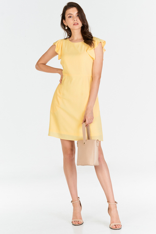 Solina Ruffled Sleeved Dress in Daffodil