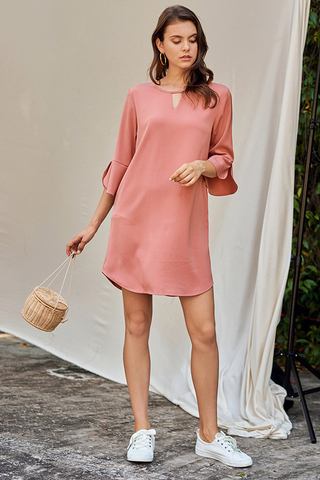 Dena Ruffled Sleeved Dress in Pink