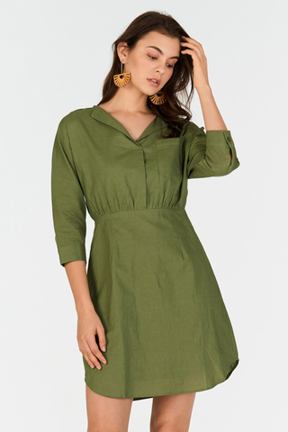 Cella Linen Dress in Sage
