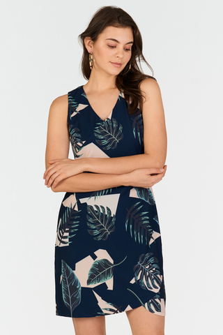 Kerena Tropical Printed Dress in Navy