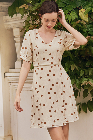 Mirana Pouf Sleeve Dotted Dress