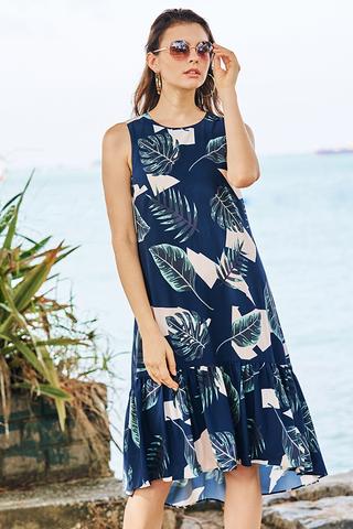 Kerena Tropical Printed Dropwaist Dress in Navy