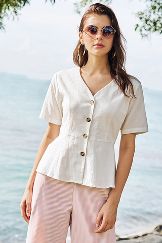 Joninta Linen Top in White