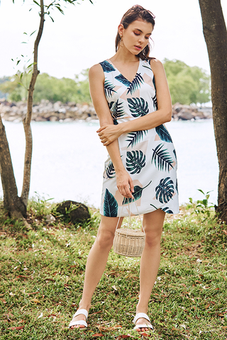 Kerena Tropical Printed Dress in White