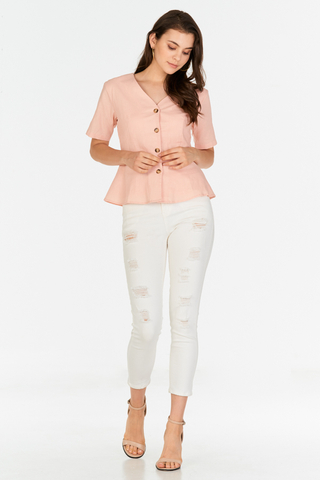 Joninta Linen Top in Pink