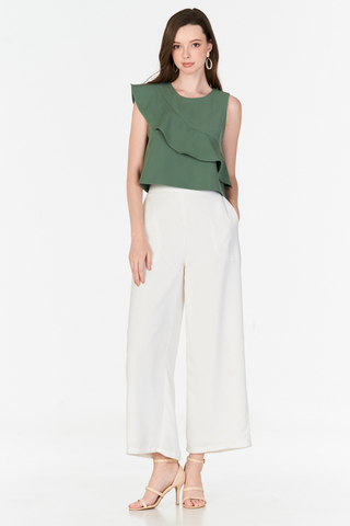 Clarinda Ruffled Top in Sage