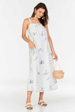 Leane Printed Maxi Dress in White