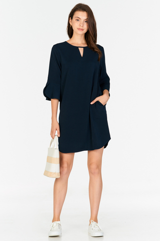 Dena Ruffled Sleeved Dress in Navy