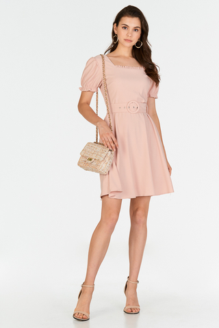 Candolia Belted Dress in Pink