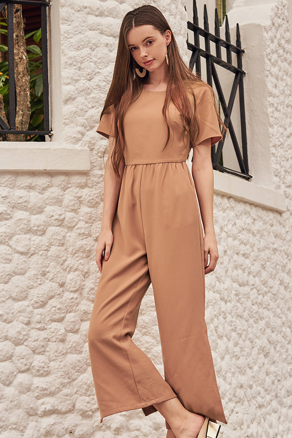 Alisson Side Slit Jumpsuit in Nude Pink