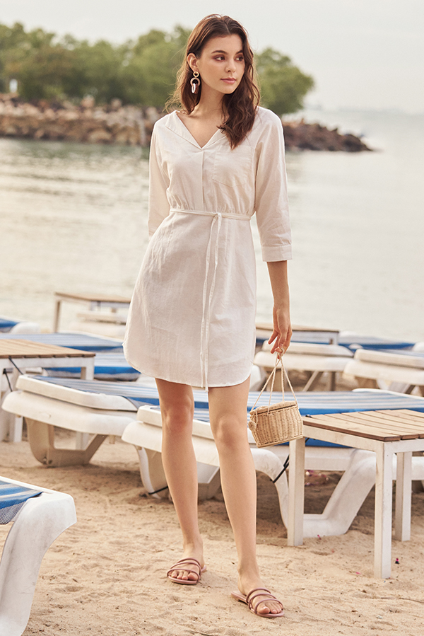 Cella Linen Dress in White