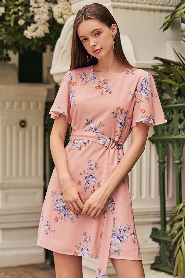 Chandler Floral Printed Belted Dress in Pink