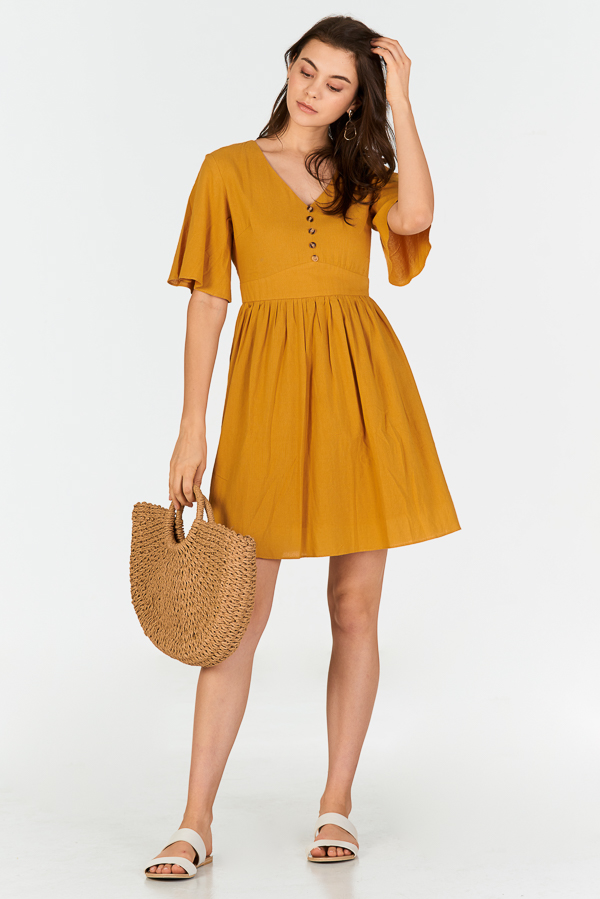 Derrin Linen Dress in Mustard