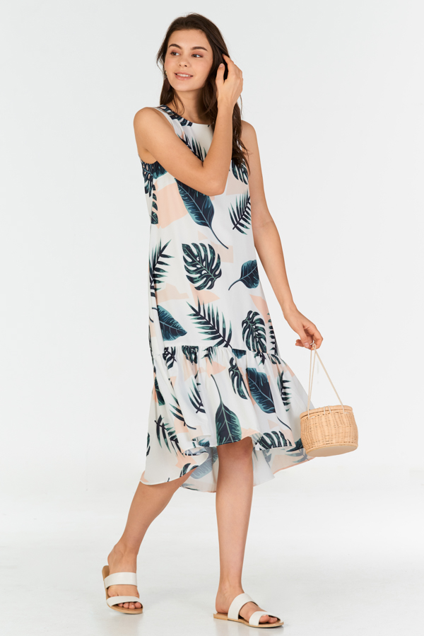 Kerena Tropical Printed Dropwaist Dress in White
