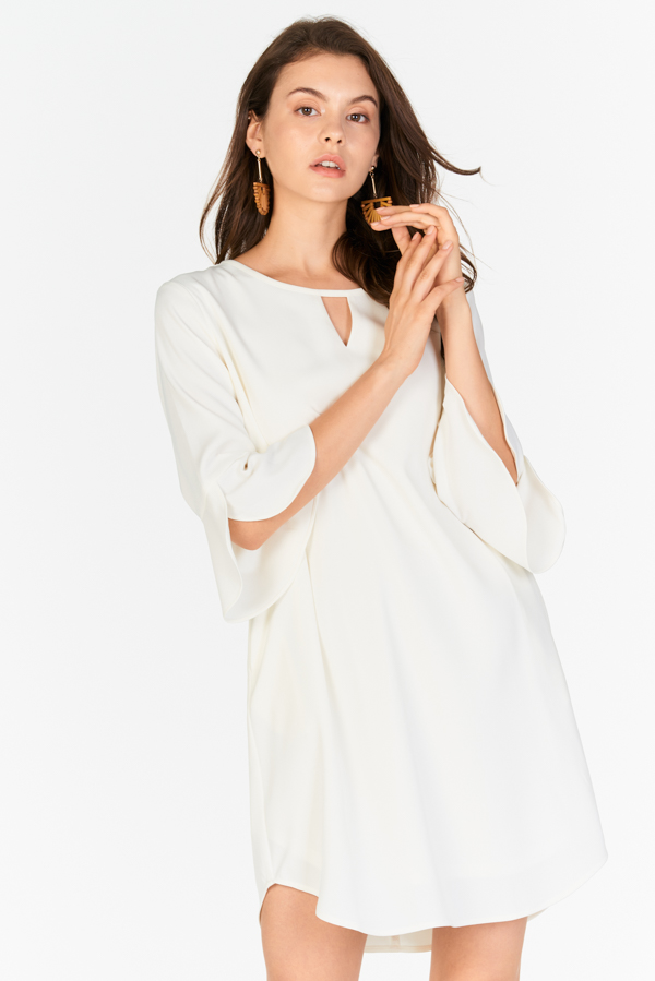 Dena Ruffled Sleeved Dress in White