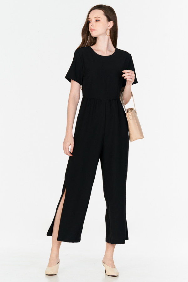 Alisson Side Slit Jumpsuit in Black