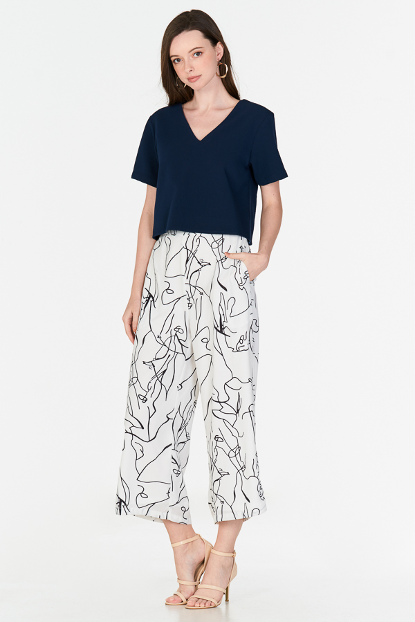 Enila Abstract Printed Culottes