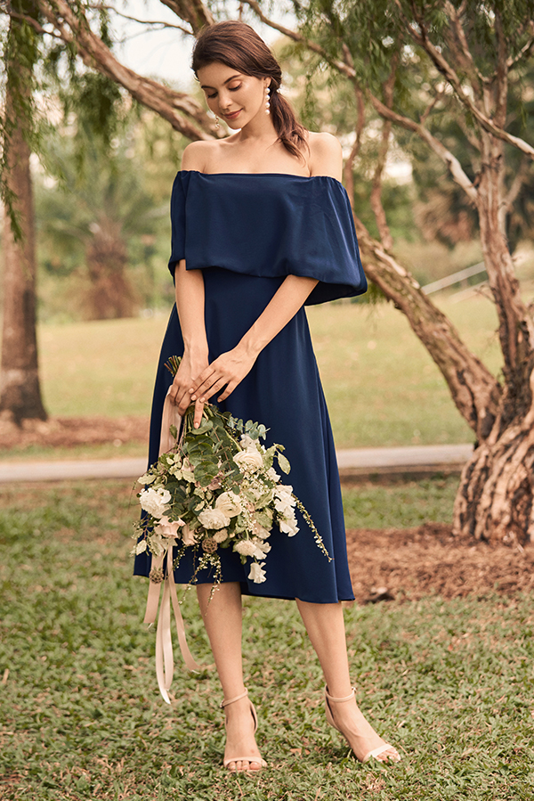 Cala Off-Shoulder Midi Dress in Navy