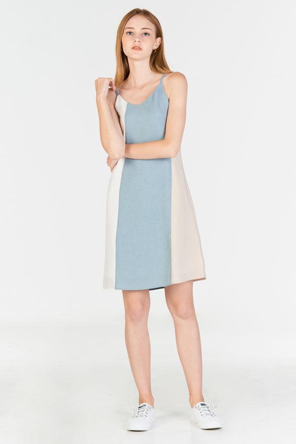 Ralya Colourblock Two Way Slip Dress in Dusty Blue