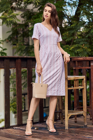 Helon Stripes Sleeved Midi Dress
