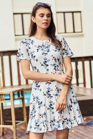 Jerrina Floral Printed Sleeved Dress