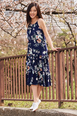 Darina Floral Printed Midi Dress in Navy