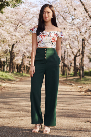 Cerinda Buttoned Pants in Forest