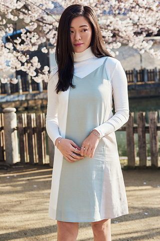 Ralya Colourblock Two Way Slip Dress in Spring Mint