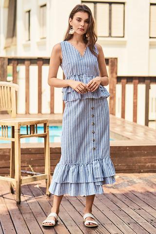 Elenda Stripes Midi Skirt