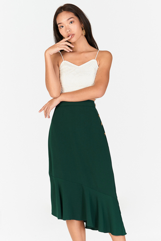 Cassel Asymmetrical Midi Skirt in Forest