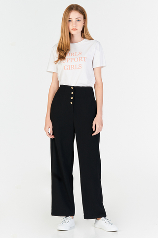 Cerinda Buttoned Pants in Black