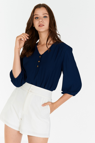Solyn Buttoned Top in Navy