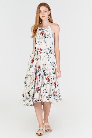 Darina Floral Printed Midi Dress in White