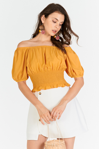 Alynna Off-Shoulder Top in Marigold