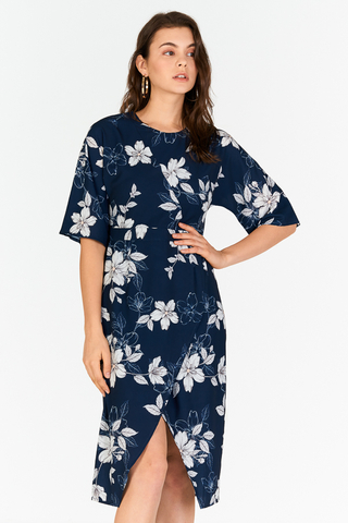 Celin Floral Printed Dress in Navy