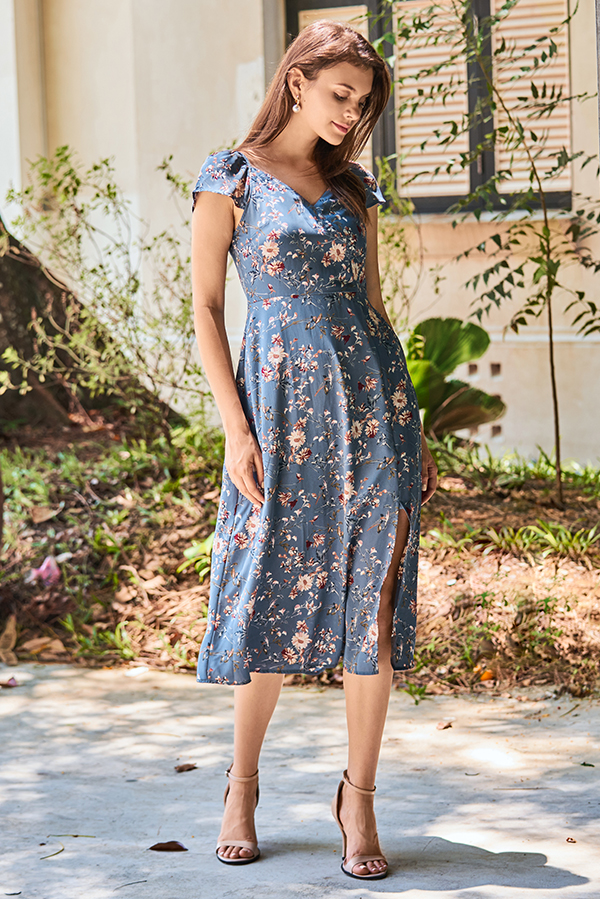 Erdina Floral Printed Midi Dress