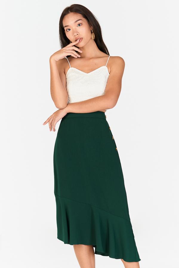 Cassel Asymmetrical Midi Skirt in Forest