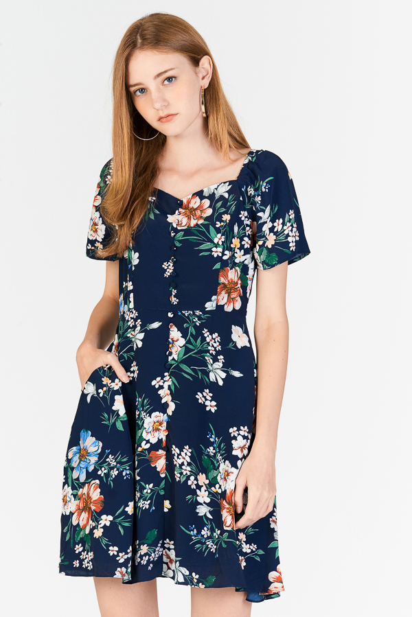 Darina Sleeved Floral Printed Dress in Navy