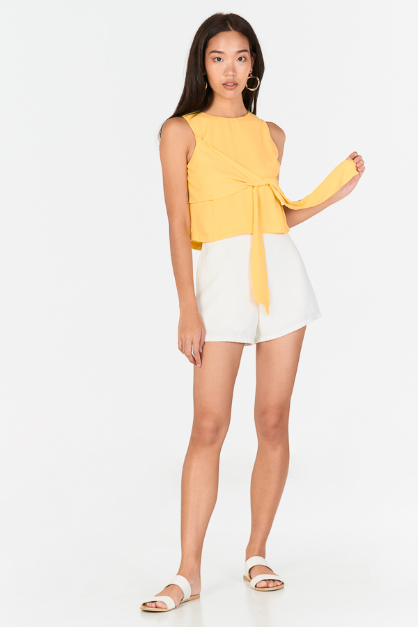 Endina Tie Front Top in Daffodil
