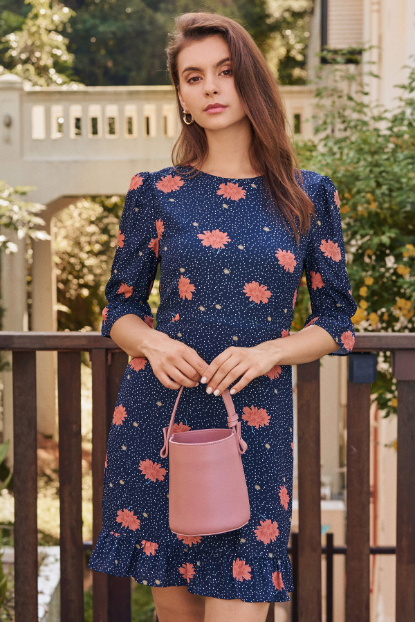 Dosina Floral Dotted Dress