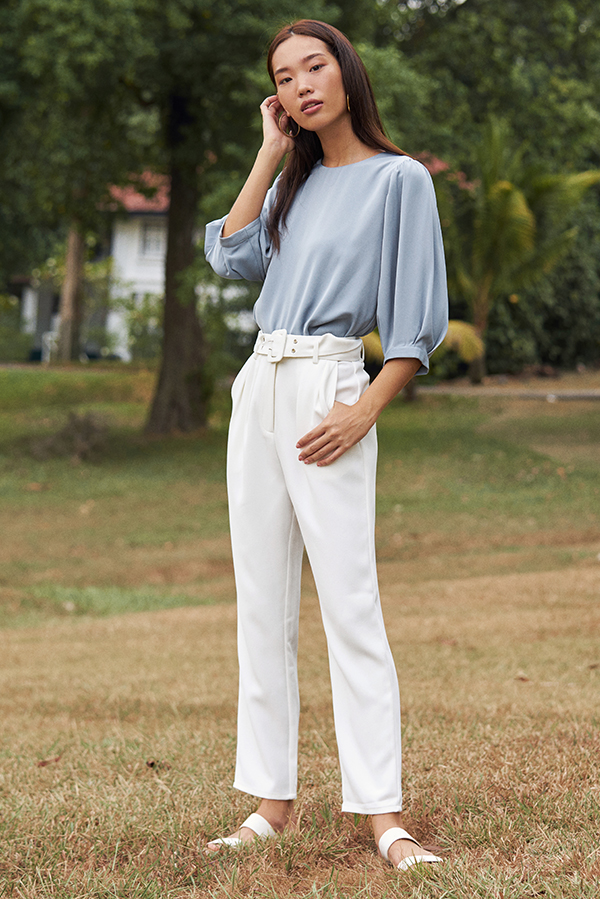 Derissa Belted Pants in White