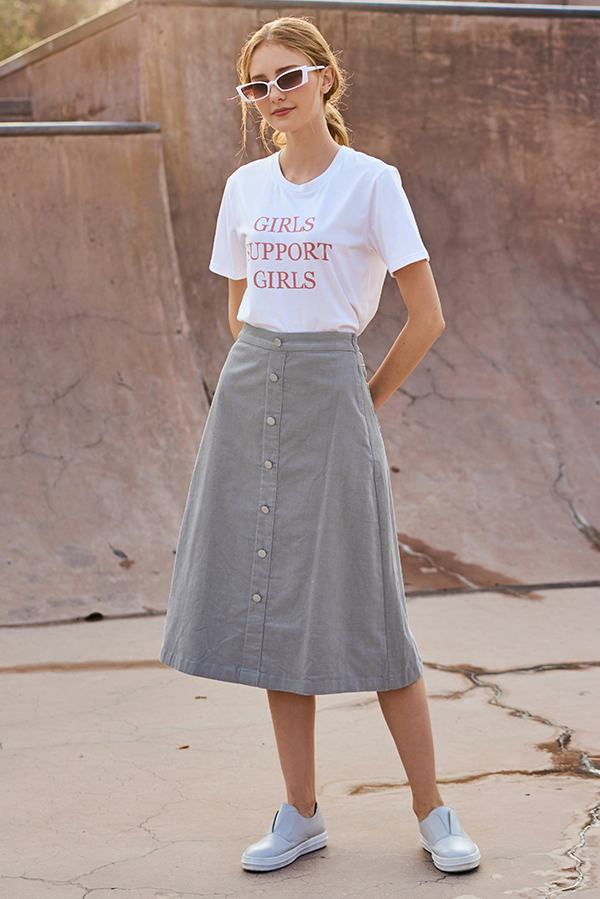 Danita Corduroy Midi Skirt in Grey