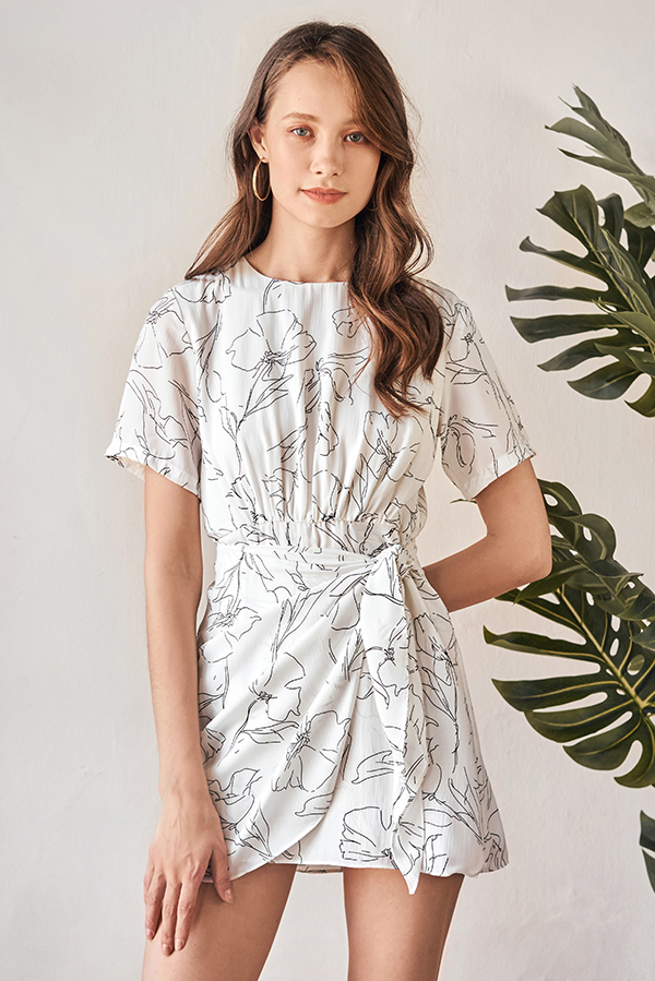 *Restock* Castora Abstract Printed Romper in White