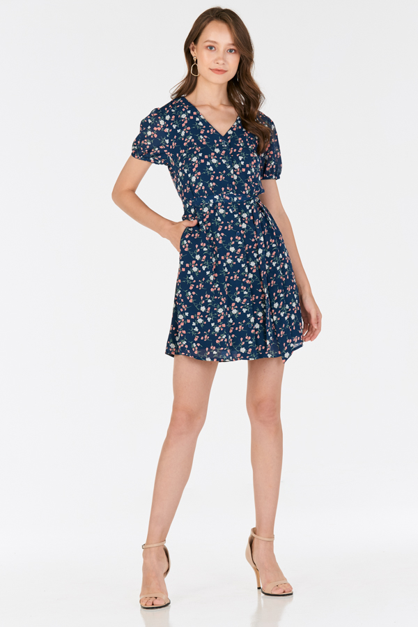 Rilana Floral Printed Dress in Blue
