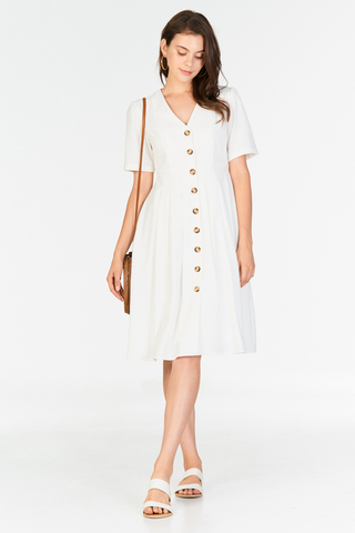 Caylin Buttoned Dress in White