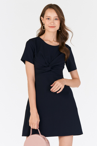 Cilia Knotted Dress in Navy