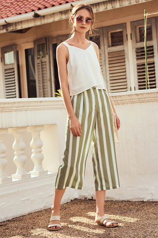 Hiranda Stripes Culottes in Sage Green
