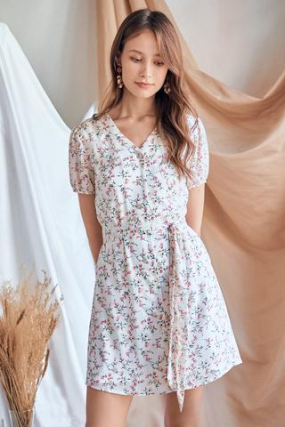Rilana Floral Printed Dress in White