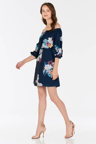 Aliera Floral Printed Dress in Navy