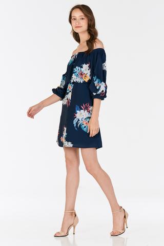 Aliera Floral Printed Dress in Navy